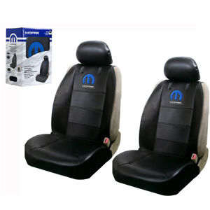 Mopar Synthetic Leather Sideless Car Truck 2 Front Seat Covers Headrest Covers