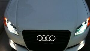 Audi Front Led Grille Emblem Lighted Rings Ultra White A1 A3 A4 A5 A6 A8 S3 S5