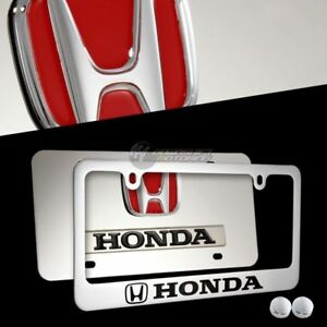 Honda Accord Civic Stainless Steel License Plate Frame W Caps 2pc Front