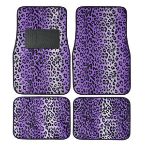 Purple Leopard Print Car Truck Suv Front Rear Premium Carpet Floor Mats 4pc Set
