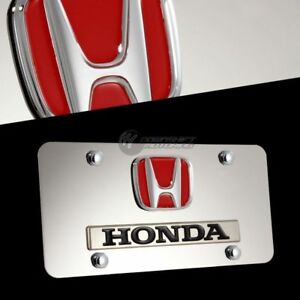 Honda Logo Front 3d Mirror Stainless Steel License Plate Frame W Caps Authentic