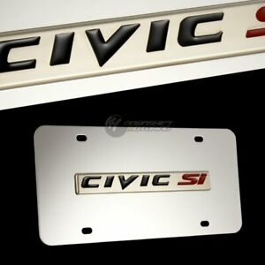 For Honda Civic Si Front Mirror Stainless Steel License Plate Frame Free Gift