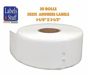 20 Rolls Of 350 Address Labels For Dymo Labelwriters 30252