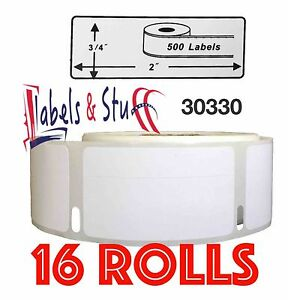 16 Rolls Of 500 Return Address Labels In Cartons For Dymo Labelwriters 30330