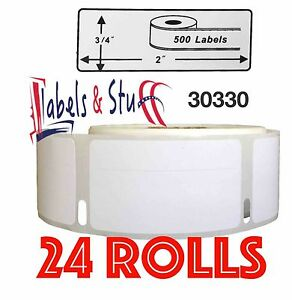 24 Rolls Of 500 Return Address Labels In Cartons For Dymo Labelwriters 30330