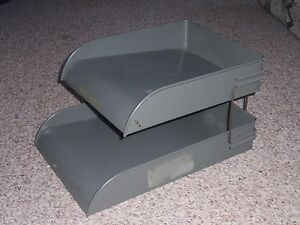 Vintage 2 Tier Metal Desk Top In Out Tray Box C W Systems Organizer