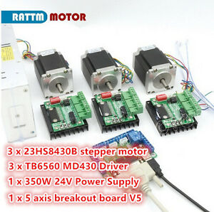 3 Axis Nema23 76mm Dual Shaft Stepper Motor 270oz in md430 Driver Controller Kit