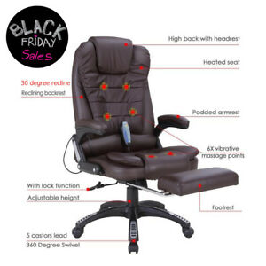 Heated Executive Ergonomic Massage Chair Vibrating Office Chair W footrest Brown