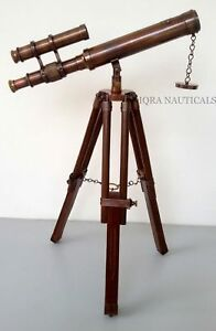 Antique Nautical Navy Brass Telescope With Wooden Tripod Stand Christmas Gift