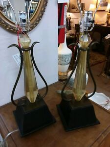 Mid Century Modern Hollywood Regency Pair Of Acrylic And Metal Lamps 1960 S