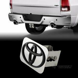 Black For Toyota Logo Stainless Hitch Cover Plug Cap For 2 Trailer Tow Receiver