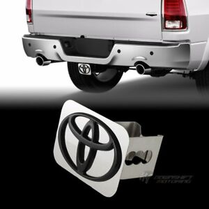 Black Toyota Logo Stainless Hitch Cover Plug Cap For 2 Trailer Tow Receiver