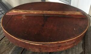Antique Old Red Paint Country Store Wooden Barrel Crock Lid Cover W Handle 18 5