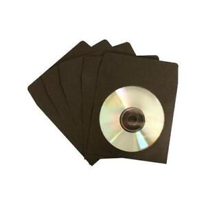 200 Cd Dvd Bluray Black Color Paper Sleeves With Clear Window And Flap Envelopes