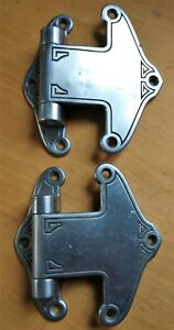 Pair Antique C1930 Art Deco Nickel Plated Brass Large Ice Box Hinges Exc Cond