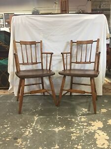 Pair Of Antique Windsor Faux Bamboo Chairs Circa 1800