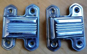 Pair Antique C1930 Art Deco Chrome Plated Brass Ice Box Hinges Excellent Cond