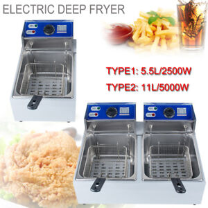 5 5l 11l Dual Tanks Electric Deep Fryer Commercial Tabletop Fryer basket Scoop
