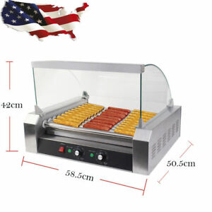 Quality Commercial 30 Hot Dog Hotdog 11 Roller Grill Cooker Machine W Cover