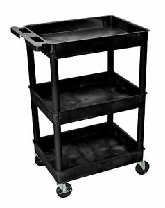 Rolling Utility Cart Plastic 3 shelf Heavy Duty Carts Industrial Storage Black
