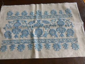 Antique Arts And Crafts Hand Embroidered Linen Pillow Cover Sham
