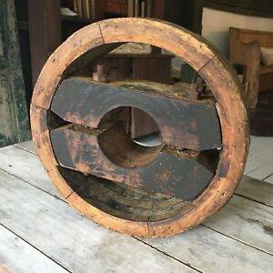 Wood Flat Belt Pulley Vintage Antique Primitive Industrial Farm Barn Wheel 12
