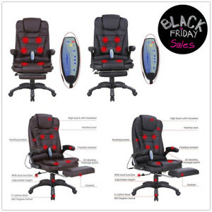 Massage Chair Heated Vibrating Executive Ergonomic Office Black Chair W footrest