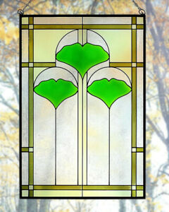 Arts And Crafts Ginkgo Stained Glass Panel 20 5 X 14 Hand Crafted In The Usa