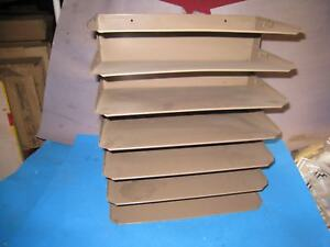 Vtg Brown 7 Tier Metal File Tray Wall Mount Desk Organizer Office Indus 82a4