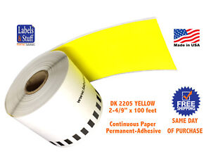12 Rolls Yellow Dk 2205 Brother Compatible Continuous Paper Labels Dk2205