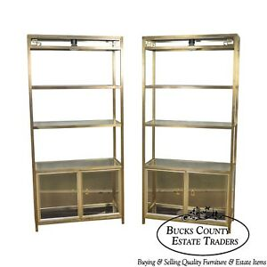 Mastercraft Vintage Brass Finished Glass Pair Of Tall Etagere Cabinets