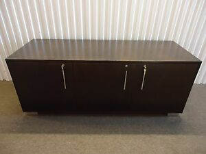 Steelcase Convene Contemporary Credenza 67 Storage Cabinet Dark Walnut Wood