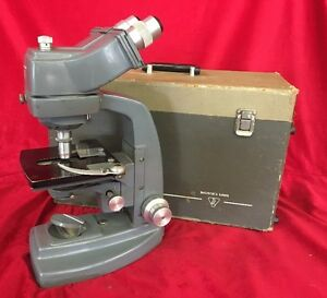 Vintage Bausch And Lomb Binocular Microscope In Gray W Case