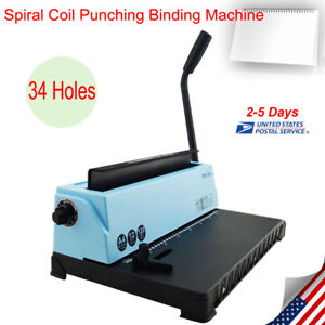 Spiral Coil Calendar Binding Machine 34 Hole Punching Binding Machines Manual Us