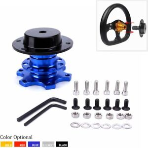 Aluminum Car Steering Wheel Boss Kit Quick Release Disconnect Hub Adapter Blue