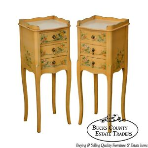 French Country Pair Of Vintage Yellow Floral Painted 3 Drawer Stands