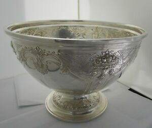 Redlich Co Large Sterling Centerpiece 18 Pint Punch Bowl C 1900
