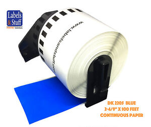 4 Rolls Blue Dk 2205 Brother Compatible Continuous Paper Labels One Cartridge