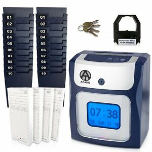 Time Clock Machine Digital Recorder Payroll Punch Cards Employee Attendance