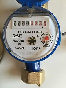 Dae As200u 75p 3 4 In Water Meter Pulse Output Measuring In Gallon Couplings