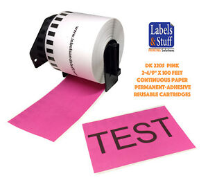 6 Rolls Pink Dk 2205 Brother Compatible Continuous Paper Labels One Cartridge
