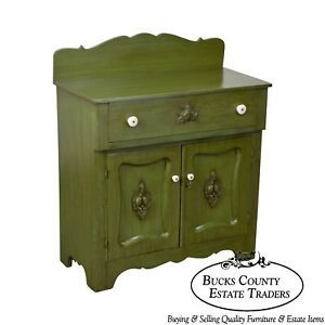 Green Painted Antique Victorian Washstand