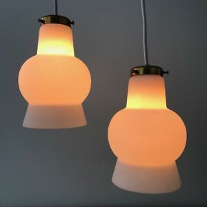 Pair Of Vintage Mid Century Danish Modern Glass Hanging Pendant Cone Lamp Lights