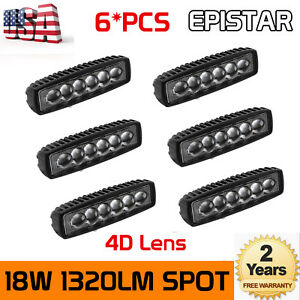 6x 6 inch 18w Spot Led Work Light Car Truck Boat Driving Offroad 4wd 4d Optical