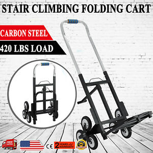 Portable Stair Climbing Folding Cart Climb Moving Up To 420lb Hand Truck Dolly