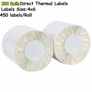 200 Rolls Direct Thermal Shipping Labels 450 roll 4x6 Zebra Zp450 Eltron 2844