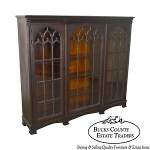 Gothic Revival Antique Carved Mahogany 3 Door Bookcase