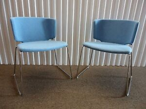Coalesse Wrapp Pair Of Stackable Blue Side And Guest Chairs Mark Krusin