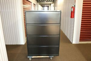 National Office Furniture Waveworks 4 Drawer Lateral File Cabinet In Black Metal