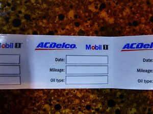 Ac Delco Mobil 1 Oil Change Reminder Windshield Cling Stickers Qty 25